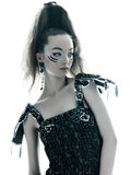 Woman fashion black silk summer dress Royalty Free Stock Images