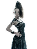 Woman fashion black silk summer dress Stock Photos