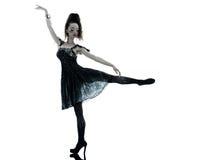 Woman fashion black silk summer dress. One young beautiful woman fashion model in on aura tout vu silk black fantasy haute couture summer dress in studio white stock photo