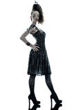 Woman fashion black silk summer dress Royalty Free Stock Photo