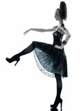 Woman fashion black silk summer dress. One young beautiful woman fashion model in on aura tout vu silk black fantasy haute couture summer dress in studio white royalty free stock photo