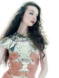 Woman fashion brown silk summer sleeveless dress stock photography