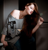 Woman in fashion clothes Royalty Free Stock Images