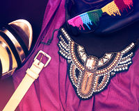 Woman fashion clothes and accessories Stock Photos