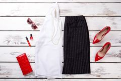 Free Woman Fashion Clothes Collage On Wood, Flat Lay, Top View. Stock Photography - 111965722