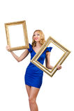 Woman in fashion clothing with  frame Royalty Free Stock Photos