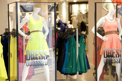 Woman fashion clothing store stock photography