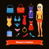 Woman fashion colourful flat icon set with model Stock Photos