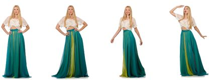 The woman in fashion concept in green dress on white Stock Photos