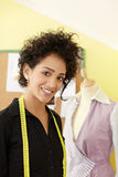 Woman in fashion design studio royalty free stock photography