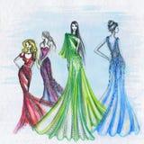 Woman fashion drawing royalty free illustration
