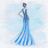 Woman fashion drawing Royalty Free Stock Photography