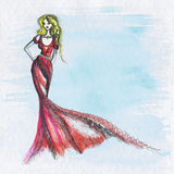 Woman fashion drawing vector illustration