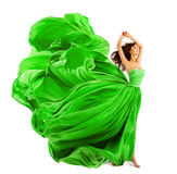 Woman Fashion Dress, Silk Fabric Cloth Fly Wave over White Stock Images
