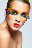 Woman with fashion feather eyelashes make-up Stock Photo