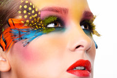 Woman with fashion feather eyelashes make-up Royalty Free Stock Photography