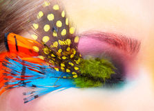 Woman with fashion feather eyelashes make-up Royalty Free Stock Photos