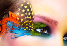 Woman with fashion feather eyelashes make-up Stock Images