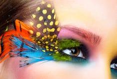 Woman with fashion feather eyelashes make-up Stock Images