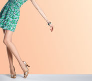 Woman in fashion floral dress, high heels, outfit Royalty Free Stock Images