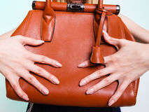 Woman fashion girl holding brown handbag Royalty Free Stock Images