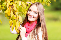 Woman fashion girl relaxing walking in autumnal park Royalty Free Stock Photos