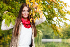 Woman fashion girl relaxing walking in autumnal park Stock Photos