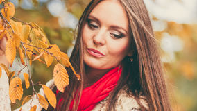 Woman fashion girl relaxing walking in autumnal park Stock Photo