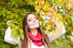 Woman fashion girl relaxing walking in autumnal park Royalty Free Stock Photography