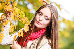 Woman fashion girl relaxing walking in autumnal park Stock Image