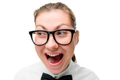 Woman in fashion glasses screaming Stock Image