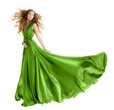 Woman fashion green gown, long evening dress. Woman in beauty fashion green gown, long evening dress over isolated white background stock photography