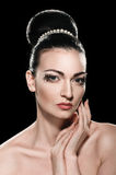 Woman with Fashion hairstyle and bright make-up Royalty Free Stock Image