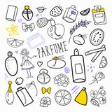 Woman Fashion Hand Drawn Doodle. Perfume Beauty Cosmetics Freehand Set royalty free illustration