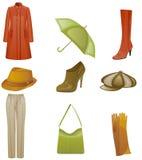 Woman fashion icon set. Woman fashion autumn icon set. Isolated on white background Royalty Free Stock Image