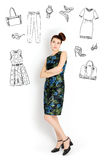 Woman with fashion icons Stock Images
