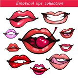 Woman fashion lip gestures set. Girl mouths close up with red and pink lipstick makeup expressing different emotions. Womans lip gestures set. Girl mouths close Royalty Free Stock Photo