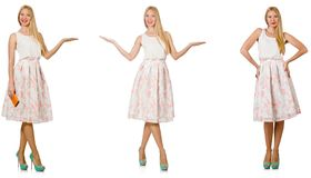 The woman in fashion looks isolated on white Stock Photography