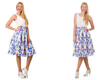 The woman in fashion looks isolated on white Royalty Free Stock Photography
