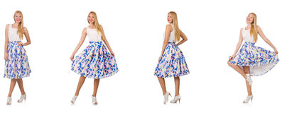The woman in fashion looks isolated on white Royalty Free Stock Image