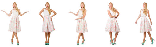 The woman in fashion looks isolated on white Royalty Free Stock Photo