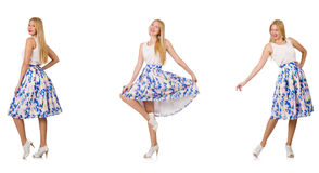 The woman in fashion looks isolated on white Stock Photo