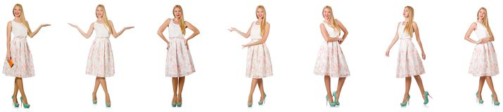 The woman in fashion looks isolated on white Royalty Free Stock Images