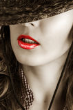 Fashion make up - sexy red lips Stock Photos