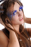 Woman with fashion makeup and blue eyelashes Royalty Free Stock Images