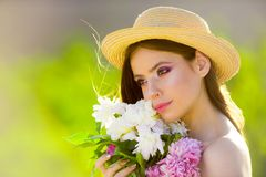 Woman with fashion makeup. Summer girl with long hair. Spring woman. Springtime and vacation. face and skincare. Travel stock photo