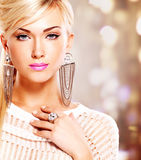 Woman with fashion makeup and white hairs royalty free stock image