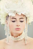 Woman Fashion Model with Makeup and White Flowers Wreath Royalty Free Stock Photos