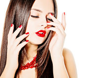 Woman Fashion Model with Manicure Nails Royalty Free Stock Photo