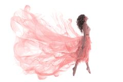 Woman in Fashion Pink Dress, Ballet Dancer Girl in Jump Flying in Dance, White stock photography